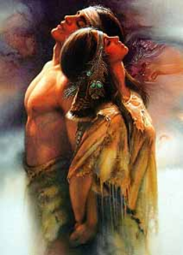Native American Couple with Passion and Love